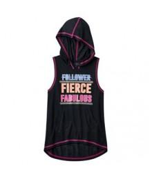 so black fierce graphic sleeveless hoodie  Little Girl
