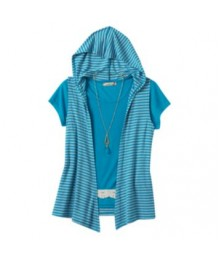 speechless green/grey stripe crochet hooded tee with hooded vest and necklace