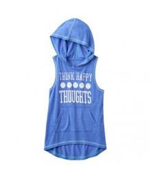 so purple happy graphic sleeveless hoodie