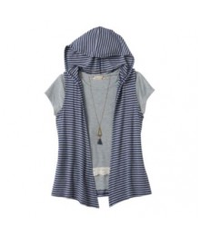 speechless grey/black stripe crochet hooded tee with hooded vest and necklace  Big Girl