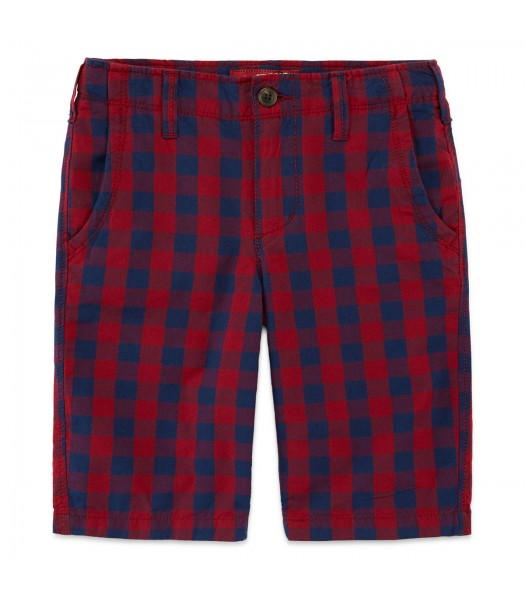 arizona red plaid husky cargo shorts