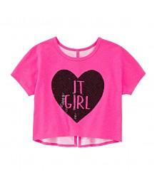 total girl pink crop top wt black seq love it girl
