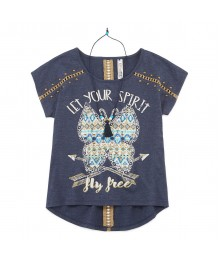 beautees navy hi-lo top wt necklace - let ur spirit fly free Big Girl