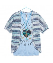 beautees 2pc blue cami wt stripped sweater