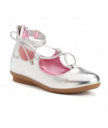 candies silver lace-up ballet flat girls shoes