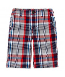 arizona red/grey/black plaid shorts