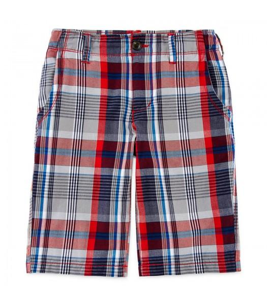 arizona red/grey/black plaid shorts