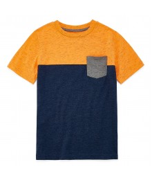 arizona neon orange/navy/grey boys tee wt pocket