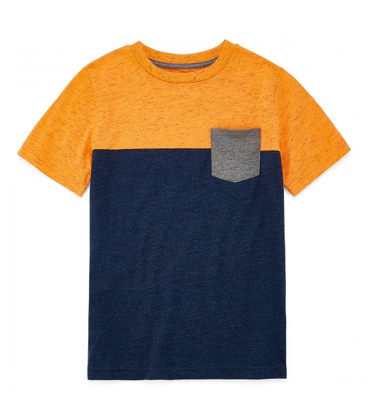 arizona neon orange/navy/grey boys tee wt pocket