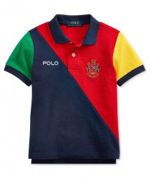 Ralph Lauren Red Colorblock Cotton Mesh Polo Shirt