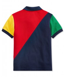 Ralph Lauren Red Colorblock Cotton Mesh Polo Shirt Little Boy