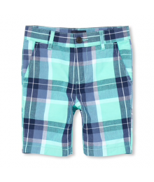Childrens Place Green/Gray/Blue Multi Check Shorts Big Boy