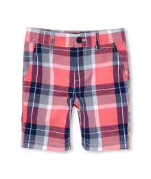 Childrens Place Peach/Gray/Blue Multi Check Shorts Little Boy