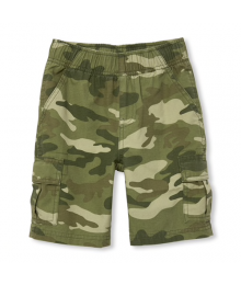 Childrens Place Green Camo Boys Husky Cargo Shorts