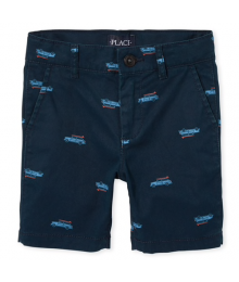 Childrens Place Navy Surf Car Print Chino Shorts  Little Boy