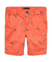 CHILDRENS PLACE ORANGE WITH PALM PRINT CHINO SHORTS Big Boy