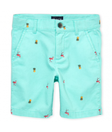 Childrens Place Aqua With  Pineapple Print Chino Shorts Little Boy