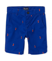 Childrens Place Navy With Chili Pepper Print Chino Shorts