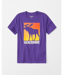Abercrombie Purple Deer Print Graphic Tee