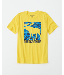 Abercrombie Yellow Deer Print Graphic Tee
