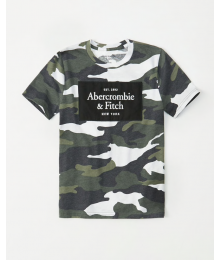 Abercrombie Green Camo Embriodered Logo Tee