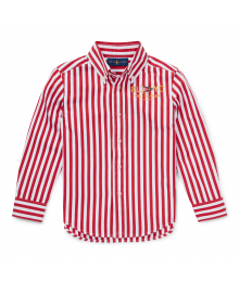 Polo Ralph Lauren Red Multi Striped Cotton Poplin L/S Shirt