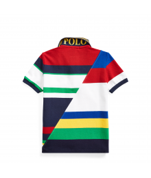 Ralph Lauren White Multi-Color Striped Cotton Mesh Polo