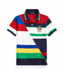 Ralph Lauren White Multi-Color Striped Cotton Mesh Polo Little Boy