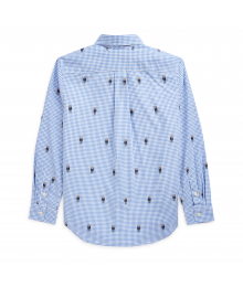 Ralph Lauren Blue Check Bear Gingham Cotton L/S Shirt Little Boy