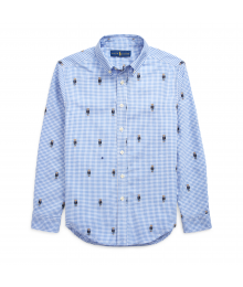 Ralph Lauren Blue Check Bear Gingham Cotton L/S Shirt