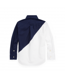 Ralph Lauren Navy/White Colorblock Cotton L/S Shirt Big Boy