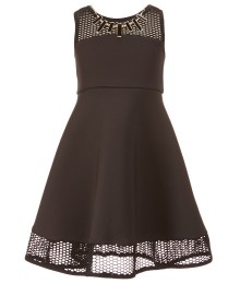 Bonnie Jean Black Lace Neck Dress With Chain