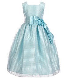 Jayne Copeland Light Blue Shadow Stripe Floral Bow Dress