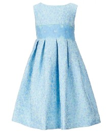Little Angels Light Blue Border Print Satin Dress