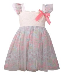 Bonnie Jean Green Mint Floral Chiffon Mesh & Lace Flutter Sleeve Pink & Cream Bow Dress