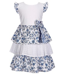Bonnie Jean White & Blue Lace Eyelet Floral Tiered Dress