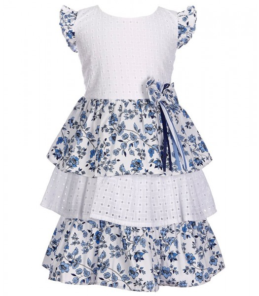 Bonnie Jean White & Blue Lace Eyelet Floral Tiered Dress  Little Girl