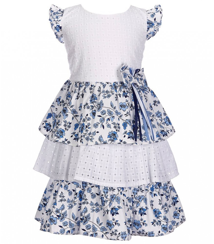 28bccffaf Bonnie Jean White & Blue Lace Eyelet Floral Tiered Dress. ₦6,950.00 NGN