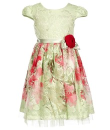 Bonnie Jean Green/Pink Wt Pink Bow Lace Dress