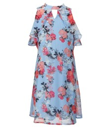 Xtraordinary Sky Blue Floral Print Keyhole Neck Dress