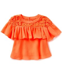 Gb Girls Orange/Coral Floral Neck Ruffle Sleeve Top