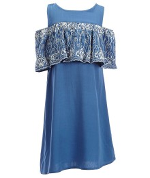 Gb Girls Blue Cold Shoulder Embroidered Ruffle Dress