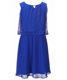 In Girl Blue Laser Cut Popover Shift Dress