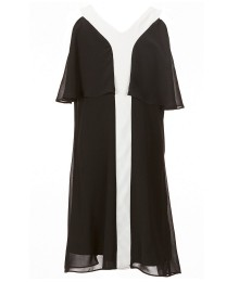 In Girl Black With White Trim Cold Shoulder Chiffon Dress