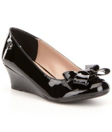 Jessica Simpson Black Glitz Wedge Bow Shoes
