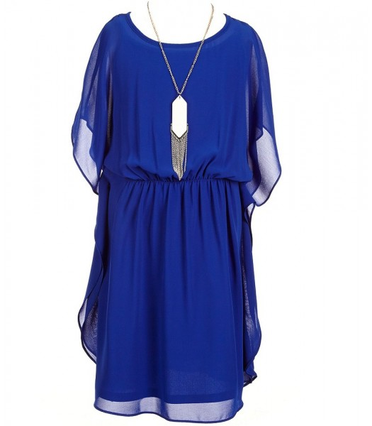 In Girl Blue Kimono Sleeve Dress With Silver Necklace