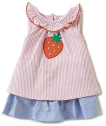 Starting Out Pink 2Pc Strawberry Applique Stripe Top And Blue Skirt