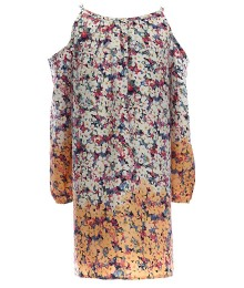 Soprano White/Orange/Multi Floral Cold Shoulder Dress  - Medium