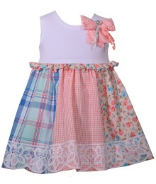 Bonnie Jean Coral Multi White Bodice Wt Pink Bow &  Net Hem Dress