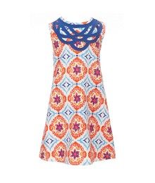 Counting Daisies Orange Multi With Blue Medallion Printed Dress  Little Girl